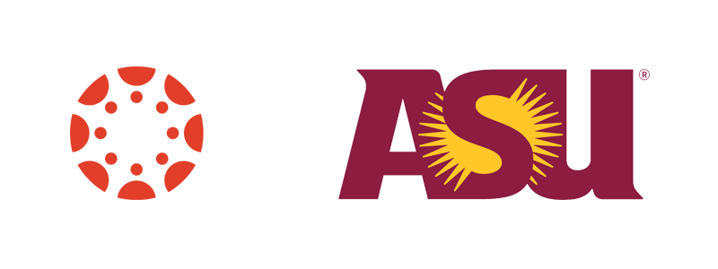 Canvas logo and ASU logo